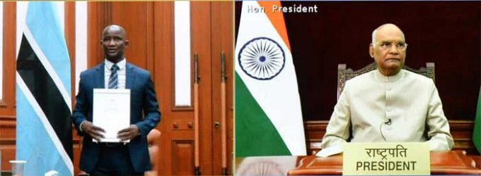 The High Commissioner-designate of Botswana, Gilbert Shimane Mangole presenting his credential to the President of India, Ram Nath Kovind