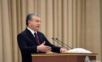 President of Uzbekistan Shavkat Mirziyoyev delivers his annual address