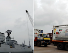 Kuwait supports India : Kuwait sends 3 ISO tanks with liquid medical O2 (20 MT each), 800 O2 cylinders and 2 O2 concentrators onboard INS Kochi arrives in New Mangalore Port