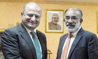 Ambassador of Georgia to India, Archil Dzuliashvili meeting the MoS for Tourism (I/C) and Electronics & Information Technology, Alphons Kannanthanam