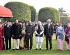 President, Ram Nath Kovind, the Vice President, M. Venkaiah Naidu and the Prime Minister, Narendra Modi with the other leaders, at the 'At Home Reception