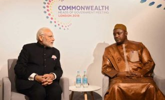 The Prime Minister, Shri Narendra Modi meeting the President of Gambia, Mr. Adama Barrow