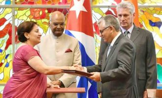 President India, Ram Nath Kovind and President of Cuba, Miguel Diaz-Canel, witnessing the exchange of Various Agreements