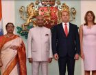 President of India, Ram Nath Kovind, during the ceremonial welcome at Saint Alexander Nevski Square in The People Republic of Bulgaria, Sofia