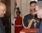 Dr. Ali Chegeni, Ambassador-designate of the Islamic Republic of Iran presenting his credentials to the President of India, Ram Nath Kovind