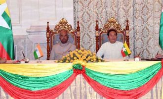 President, Ram Nath Kovind and the President of Myanmar, U. Win Myint witnessing the signing of agreement