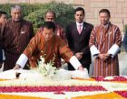 The Prime Minister of Bhutan, Dr. Lotay Tshering laying wreath at the Samadhi of Mahatma Gandhi,