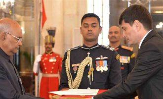Ambassador-designate of Turkmenistan, Shalar Geldynazarov presenting his credential to the President of India, Ram Nath Kovind