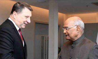 The President of India, Ram Nath Kovind, meeting with Raimonds Vcjonis, the President of the Republic of Latvia