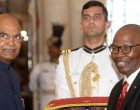 The High Commissioner-designate of the Republic of South Africa, Joel Sibusiso Ndebele presenting his credentials to the President, Ram Nath Kovind