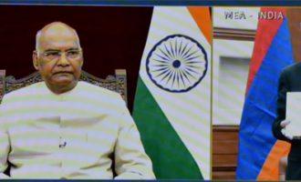 H.E. Mr. Youri Babakhanyan, Ambassador-designate of the Republic of Armenia presenting credentials to President of India