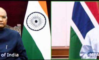 The Ambassador-designate of The Gambia, Mustapha Jawara presenting his credentials to the President, Ram Nath Kovind