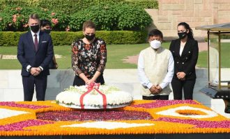 The Prime Minister of Kingdom of Denmark, Mette paying homage at the Samadhi of Mahatma Gandhi, at Rajghat,